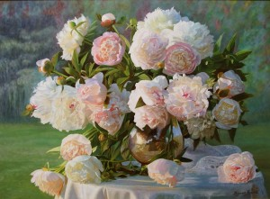 Peonies in a silver pitcher